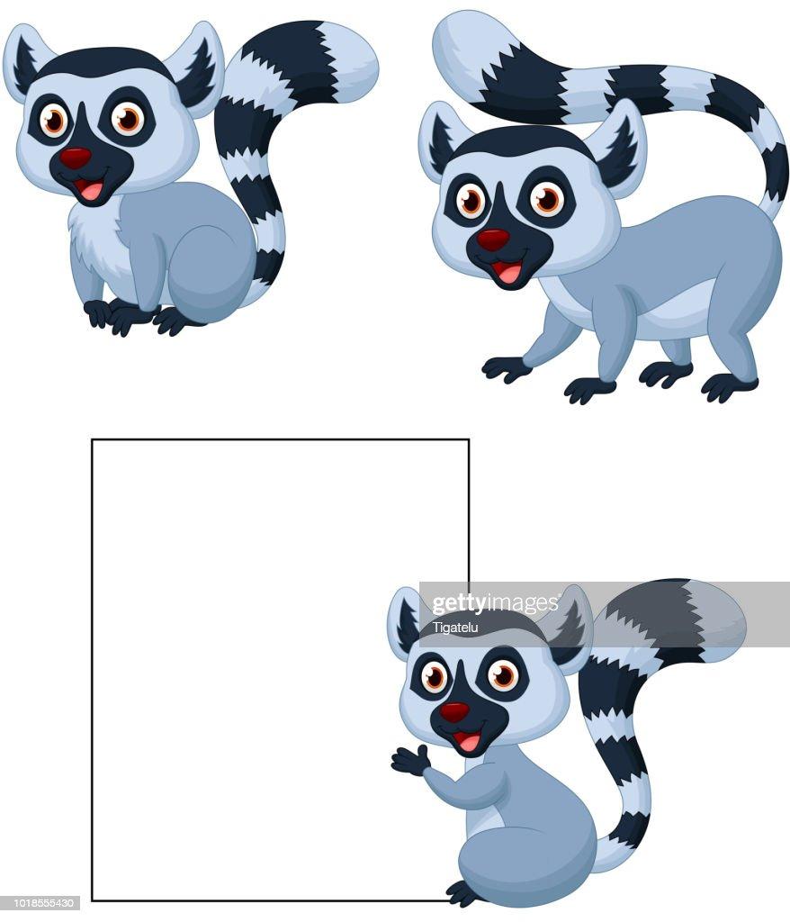 Cute lemur cartoon collection set