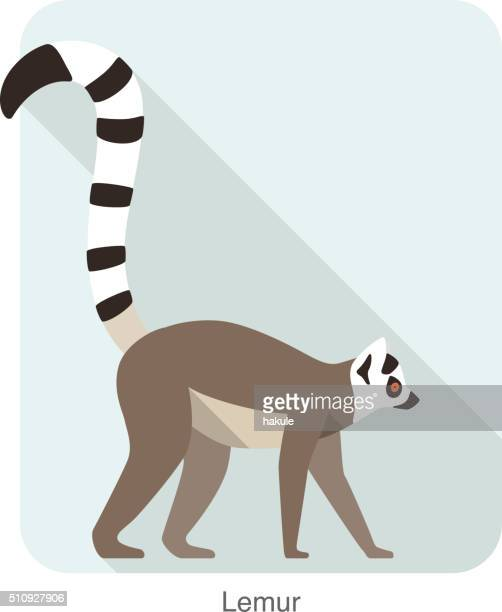cute lemur walking on the ground, vector - lemur stock illustrations