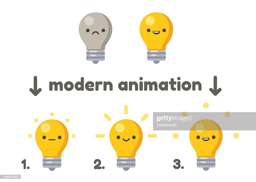 Cute lightbulb with animation