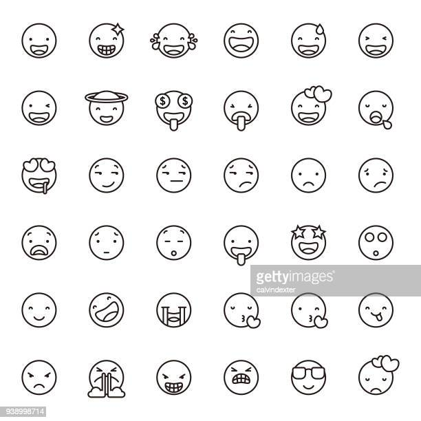 Cute line art emoticons set 1