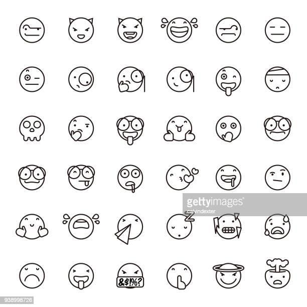 ilustrações de stock, clip art, desenhos animados e ícones de cute line art emoticons set 3 - kawaii