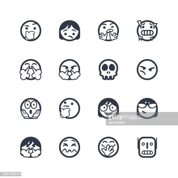 ilustrações de stock, clip art, desenhos animados e ícones de cute line art emoticons set - kawaii
