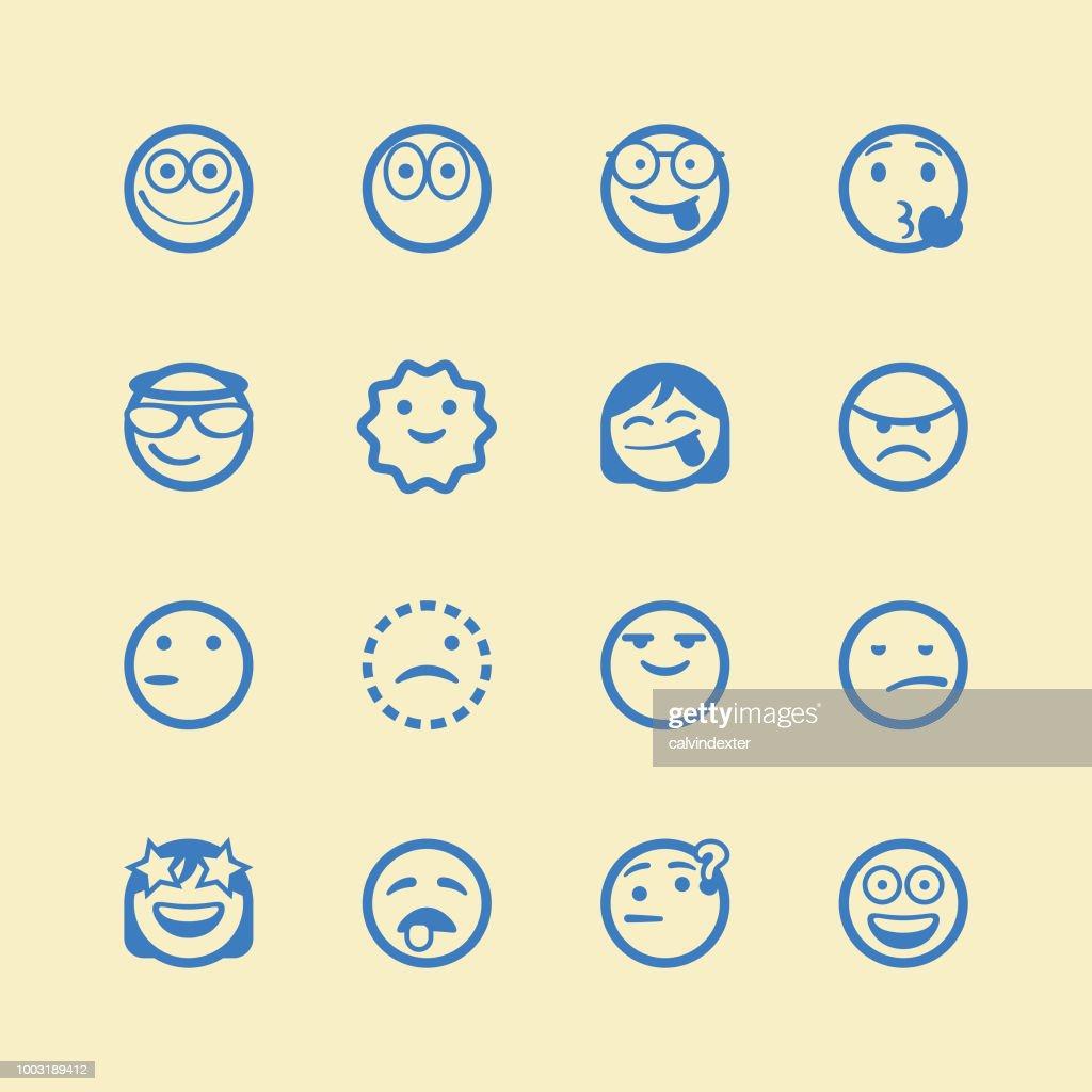 Cute line art emoticons set : stock illustration