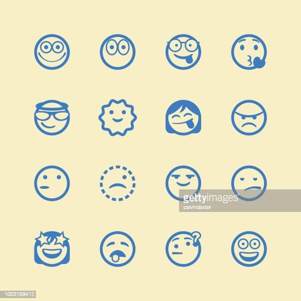 cute line art emoticons set - careless stock illustrations, clip art, cartoons, & icons