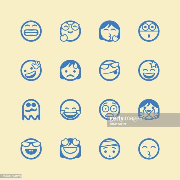 Cute line art emoticons set