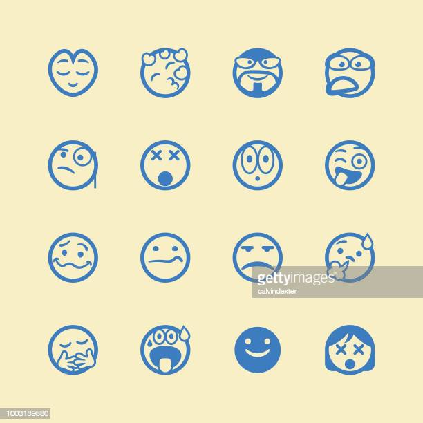 cute line art emoticons set - relief emotion stock illustrations, clip art, cartoons, & icons