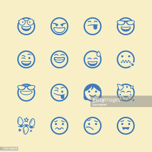 Cute line art emoticons set