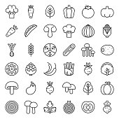 Cute line vegetable icon set