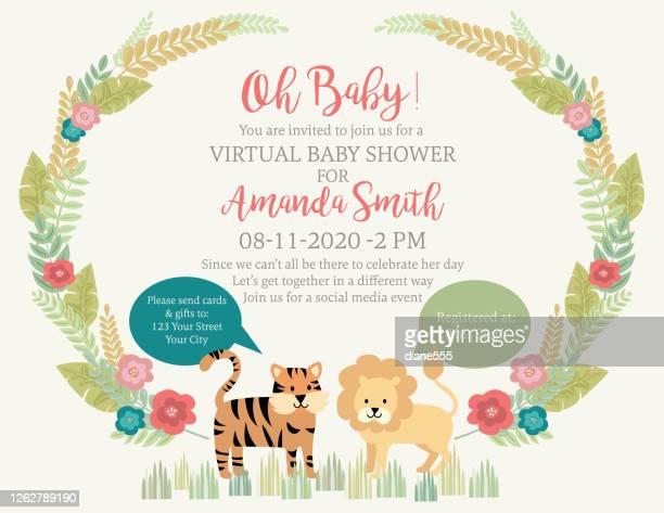 かわいいライオンとタイガージャングル動物ベビーシャワー招待状 - バーチャルイベント点のイラスト素材/クリップアート素材/マンガ素材/アイコン素材
