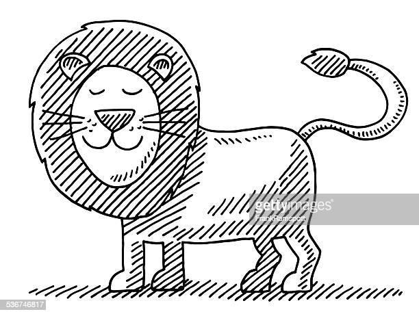 ilustrações, clipart, desenhos animados e ícones de leão desenho de animal bonito - animal mane