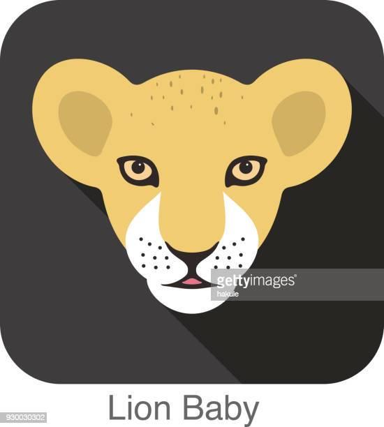 illustrazioni stock, clip art, cartoni animati e icone di tendenza di carino lion baby, razza cat faccia cartone animato icona piatta design - felino selvatico