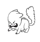 Cute little angry cat standing arching his back, monochrome styl