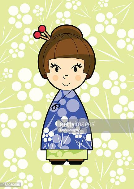Cute Little Oriental Girl in Lilac Dress with Flowers
