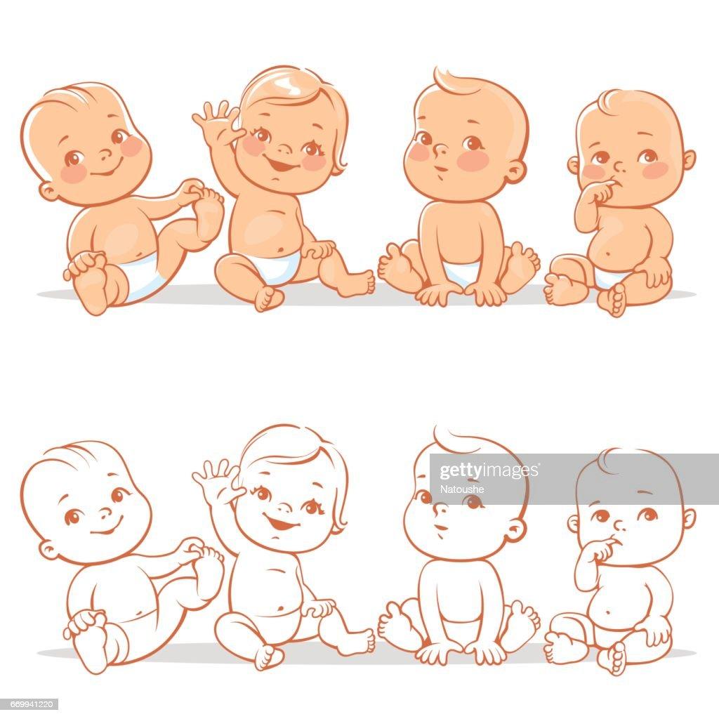 Cute little babies set.
