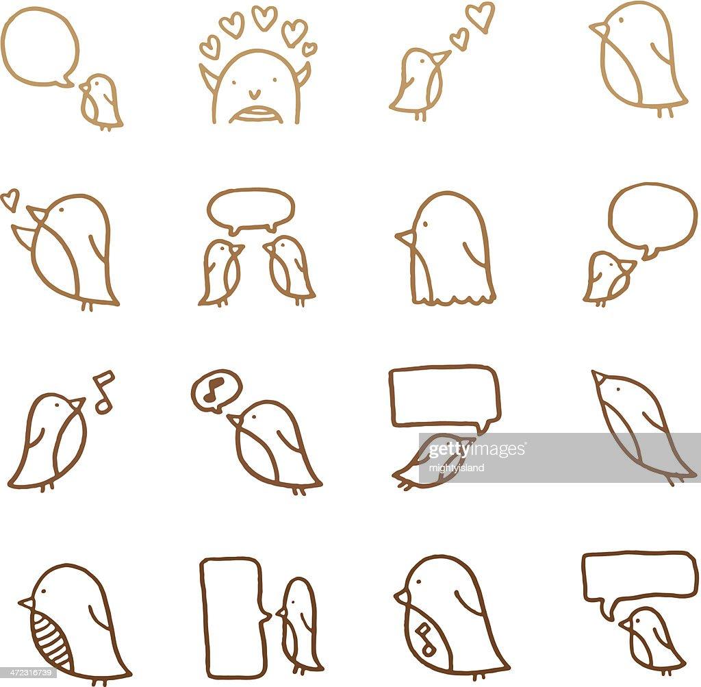 Cute little birds doodle icon set
