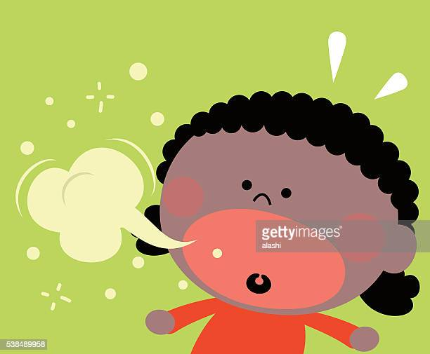 cute little black girl (kid) burping, bad breath - coughing stock illustrations