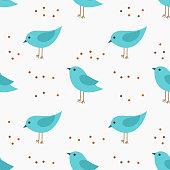 Cute little blue birds seamless pattern.