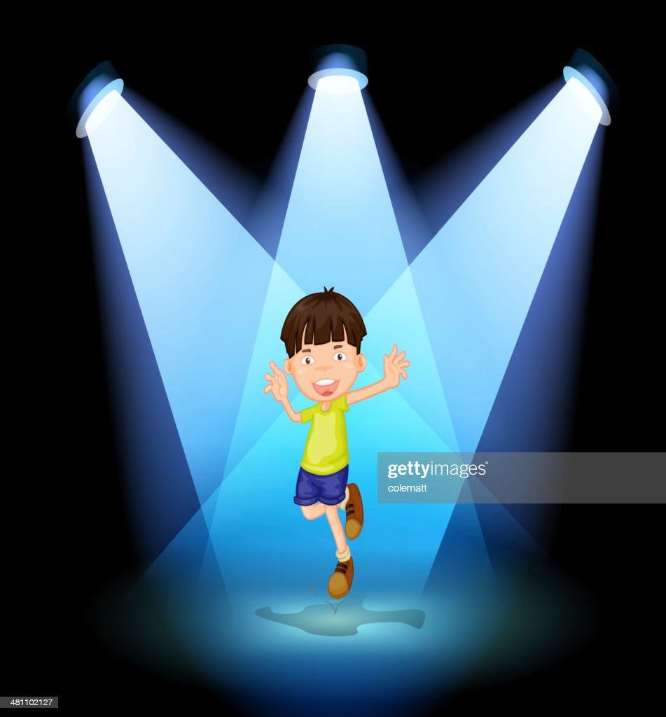 cute little boy dancing in the stage