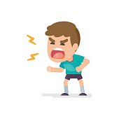 Cute little boy gets mad angry fighting and shouting expression, Vector illustration.