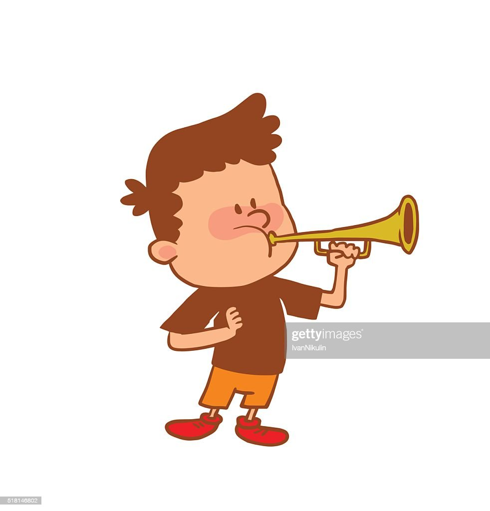 Cute little boy playing the horn, color image