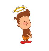Cute little boy with a halo, color image