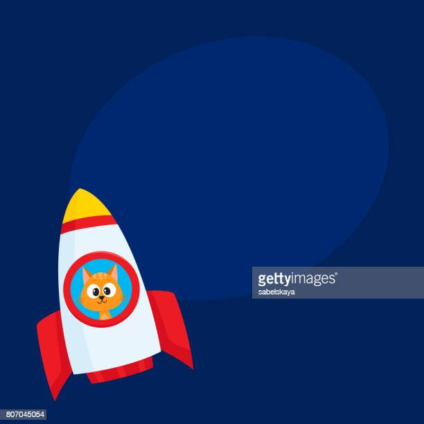 Cute little cat, kitten astronaut, spaceman character flying in rocket
