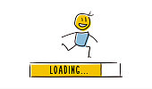Cute little character running with loading bar reaching the end. Concept symbolizing progress. Vector doodle illustration