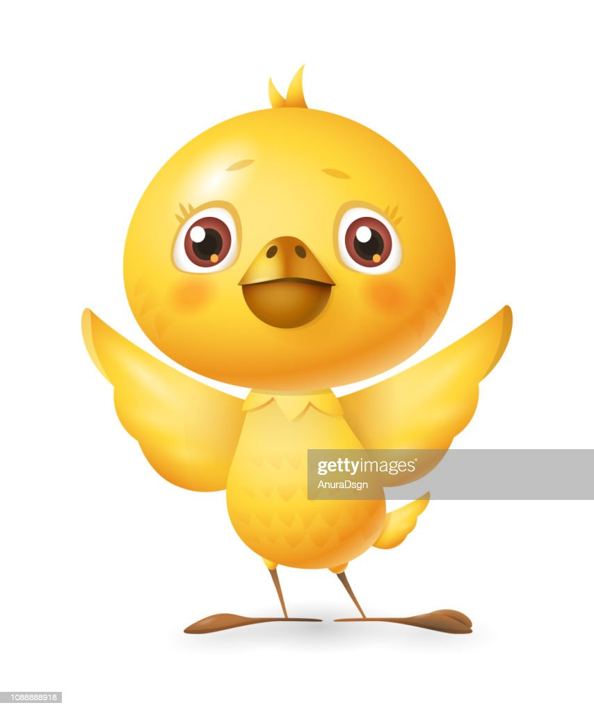 Cute little chicken - vector illustration isolated on white background