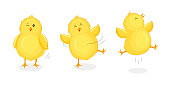 Cute little chicks jumping and dancing.