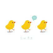 Cute little chicks.Greeting card