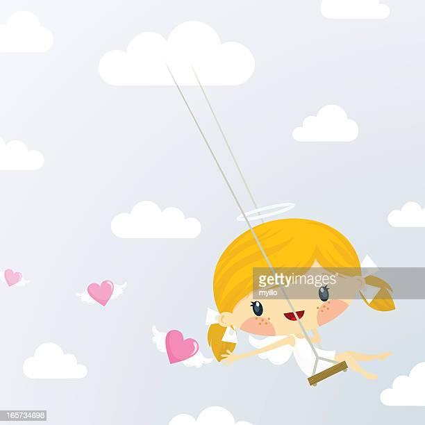 Süße kleine Amor Mädchen. St Valentine's day-illustration