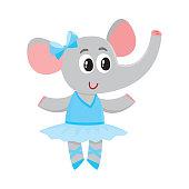 Cute little elephant character, ballet dancer in tutu skirt
