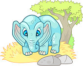 cute little elephant, design funny illustration