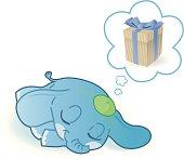 cute little elephant is dreaming.