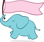 Cute little elephant with a banner