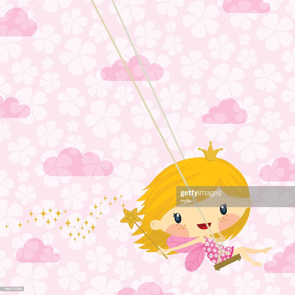 Cute little fairy princess / pink happy birthday illustration vector