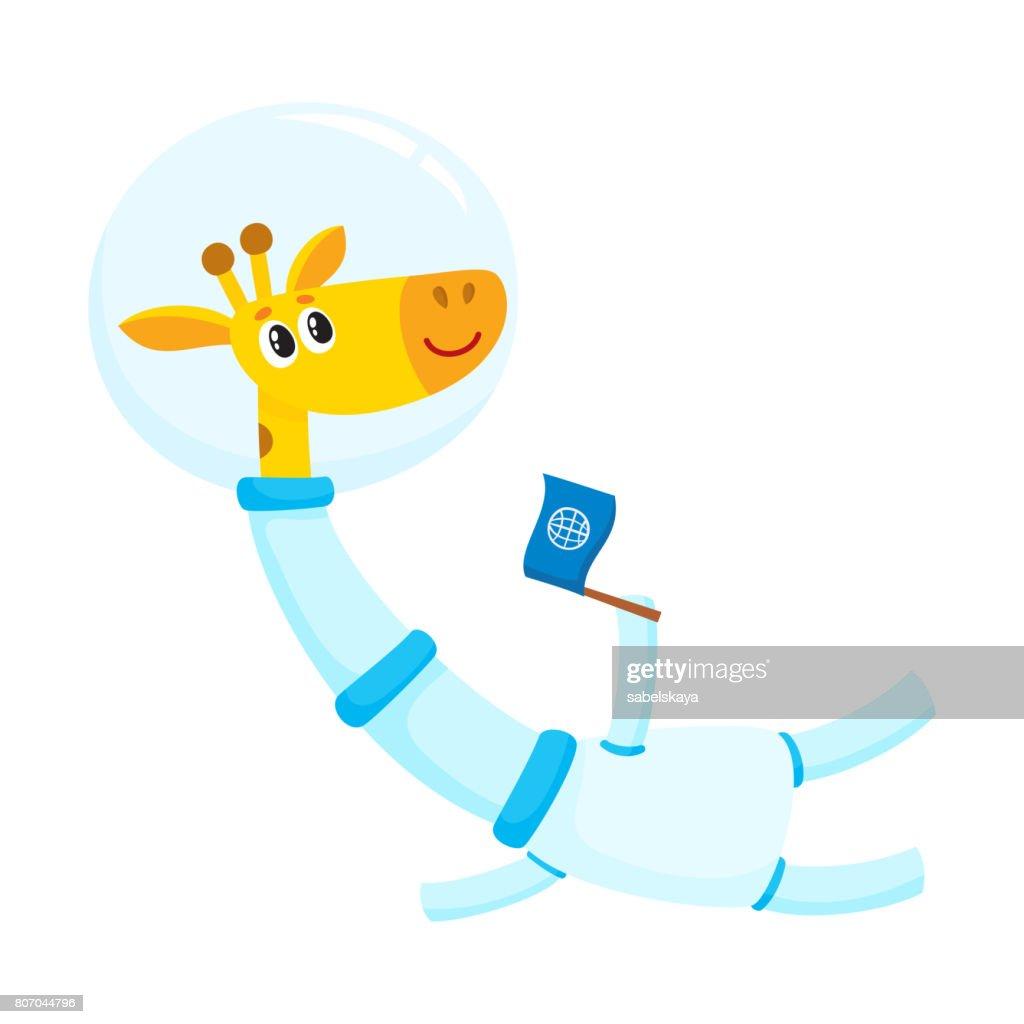 Cute Little Giraffe Animal Astronaut Spaceman Character Wearing