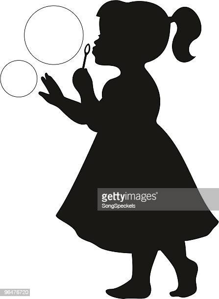 illustrations, cliparts, dessins animés et icônes de mignonne petite fille souffle des bulles - petites filles
