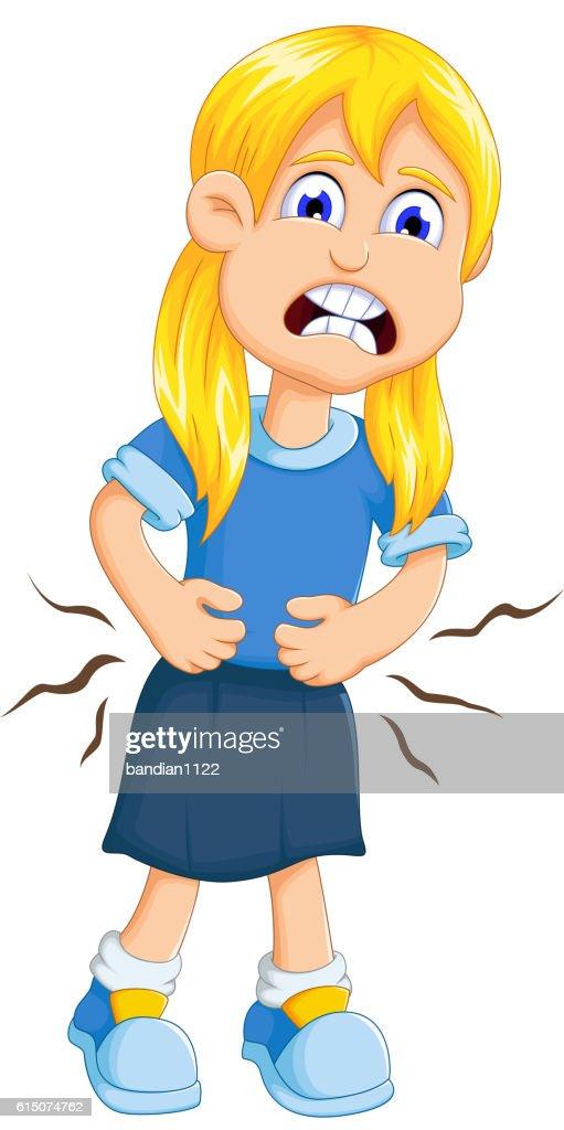 cute little girl cartoon stomach ache