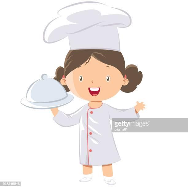 ilustraciones, imágenes clip art, dibujos animados e iconos de stock de cute little chef de chica - gorro de chef