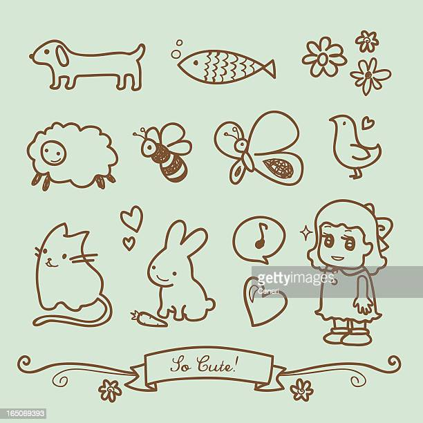cute little girl doodle drawings - fish love stock illustrations
