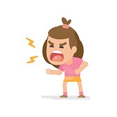 Cute little girl gets mad angry fighting and shouting expression, Vector illustration.