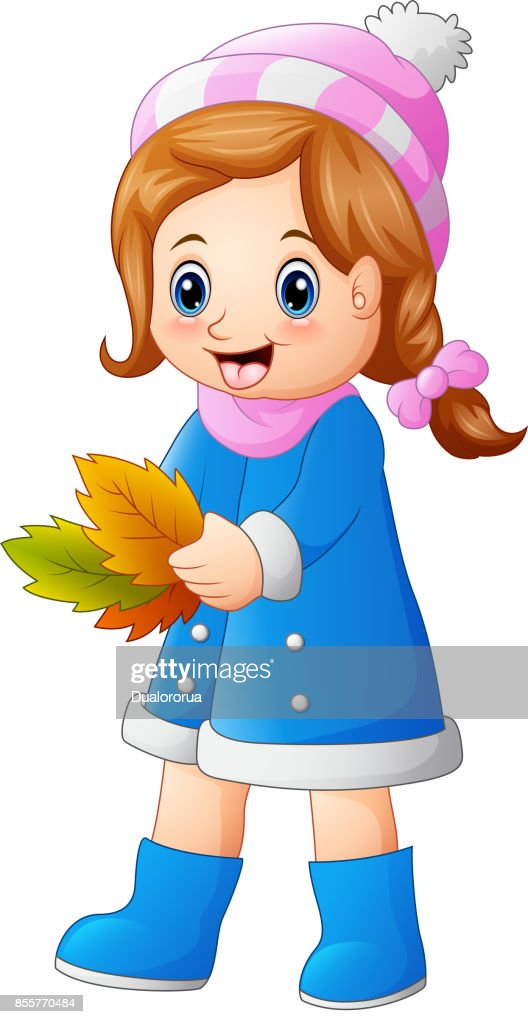 Cute little girl holding autumn leaves