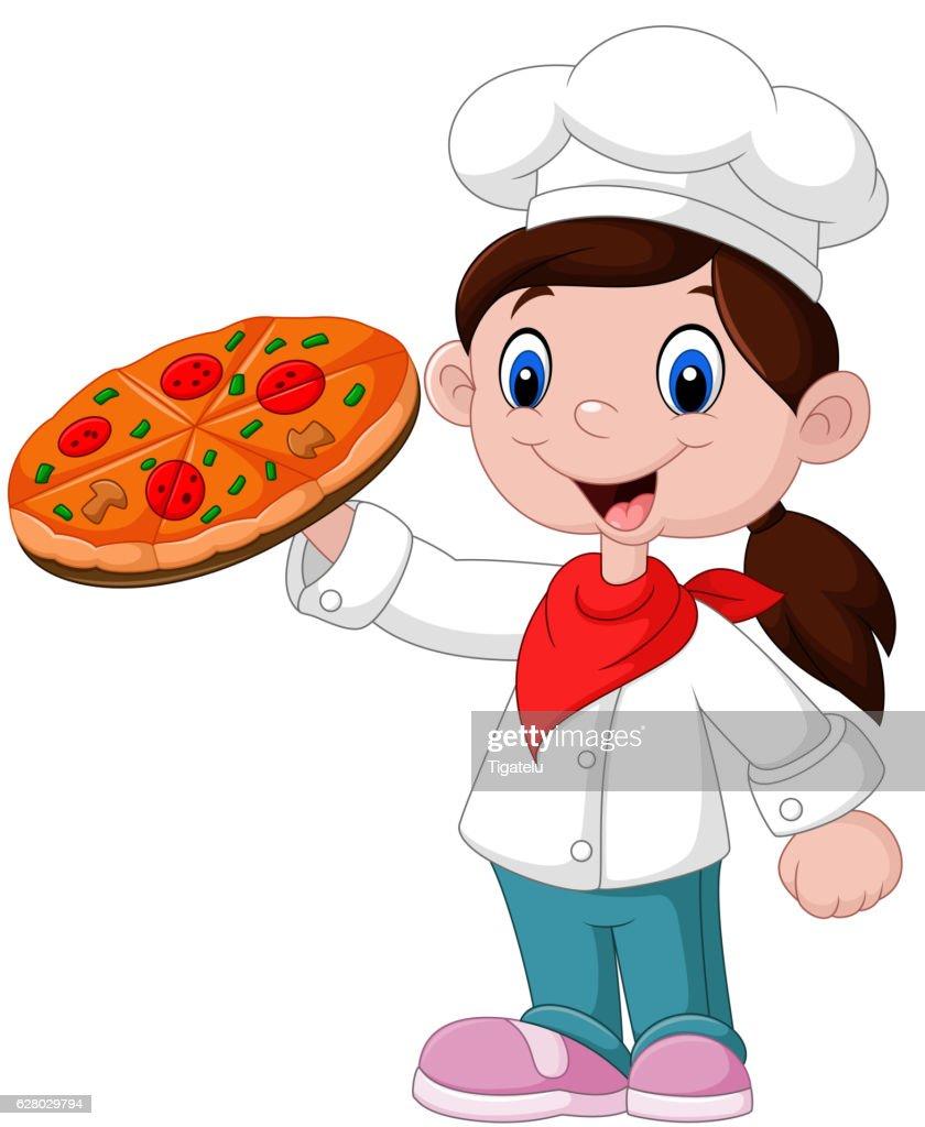 Cute little girl holding pizza