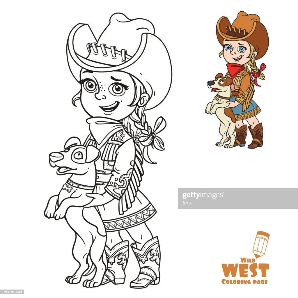 Niedliche Kleine Mädchen In Einem Cowboykostüm Spielen Mit Einem ...