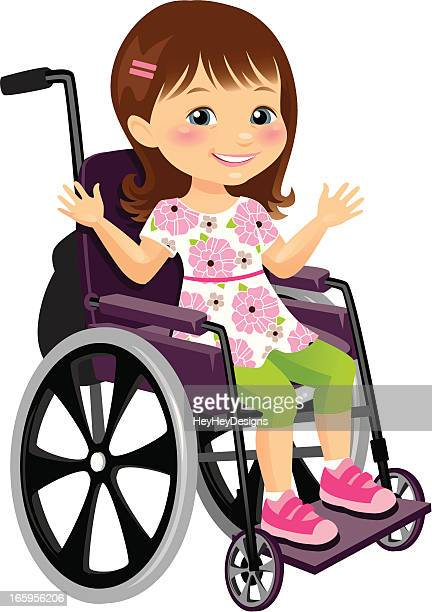 cute little girl in wheelchair - wheelchair stock illustrations, clip art, cartoons, & icons