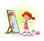 Cute little girl looking in the mirror