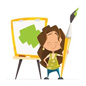 Cute little girl painting picture holding brush easel