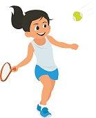 cute little girl playing tennis.