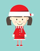 cute little girl wearing santa claus costume